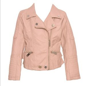 Urban Republic Pink Ruffle Faux Leather Jacket